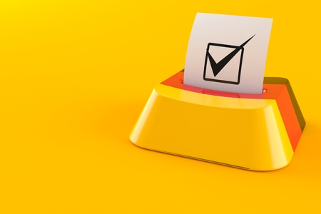 German online voting concept isolated on orange background. 3d illustration 版權商用圖片