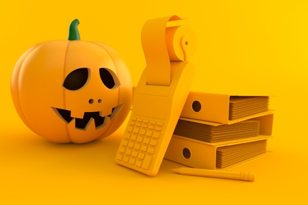 Accountancy background with jack olantern in orange color. 3d illustration Stock Photo