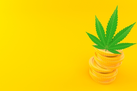 Cannabis leaf with stack of coins isolated on orange background. 3d illustration
