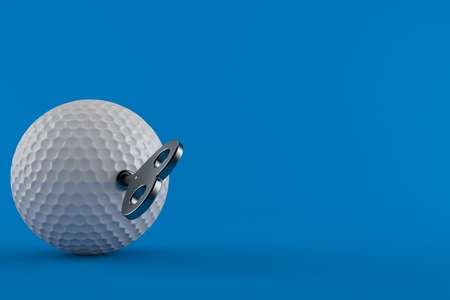 Golf ball with clockwork key isolated on blue background. 3d illustration