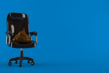 Dung poo on business chair isolated on blue background. 3d illustration