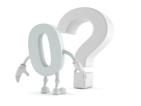 Zero character looking at question mark symbol isolated on white background. 3d illustration