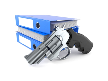 Gun with ring binders isolated on white background. 3d illustration Stok Fotoğraf