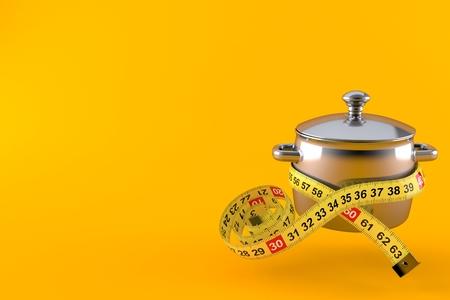 Kitchen pot with centimeter isolated on orange background. 3d illustration