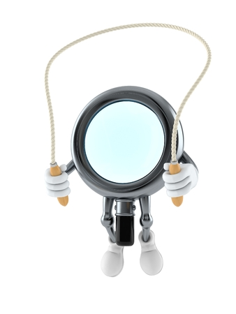 Magnifying glass character jumping on jumping rope isolated on white background. 3d illustration Stock Photo
