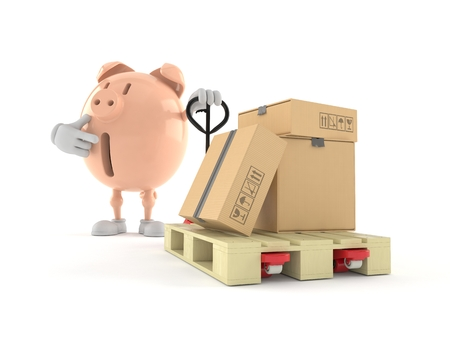 Piggy bank character with hand pallet truck with cardboard boxes isolated on white background. 3d illustration