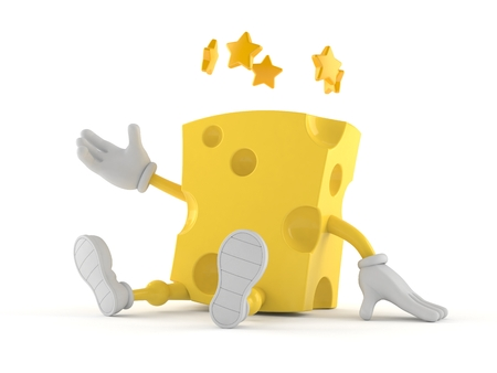 Cheese character with stars around head isolated on white background. 3d illustration Imagens