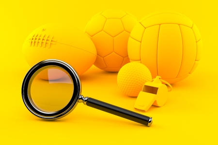 Sport background with magnifying glass in orange color. 3d illustration