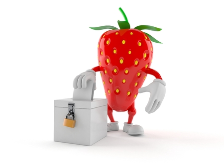 Strawberry character with vote ballot isolated on white background. 3d illustration