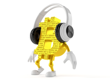 Bitcoin character with headphones isolated on white background. 3d illustration