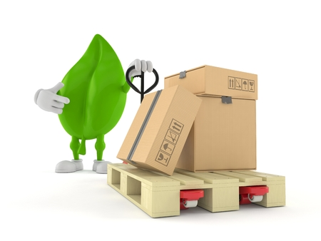 Leaf character with hand pallet truck with cardboard boxes isolated on white background. 3d illustration
