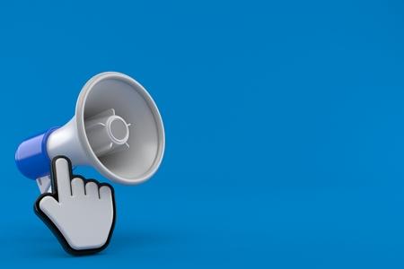 Megaphone with web cursor isolated on blue background. 3d illustration Imagens