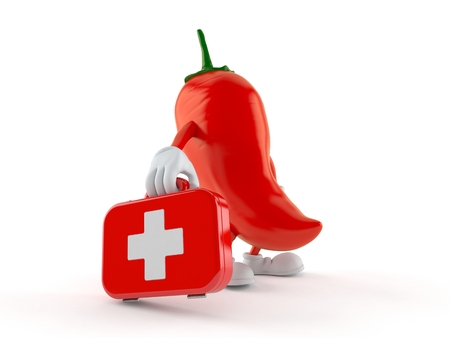 Hot chili pepper character holding first aid kit isolated on white background. 3d illustration Stock Photo
