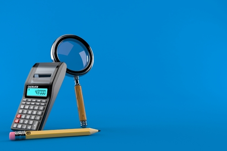 Magnifying glass with calculator and pencil isolated on blue background. 3d illustration