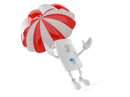 Pregnancy test character with parachute isolated on white background. 3d illustration