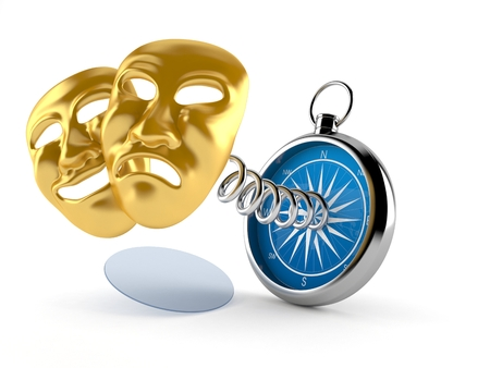 Theater Masks with compass isolated on white background. 3d illustration