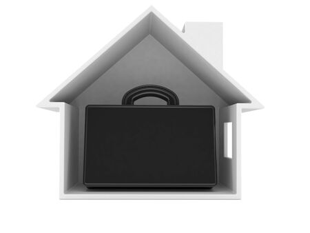 Briefcase inside house cross-section isolated on white background. 3d illustration