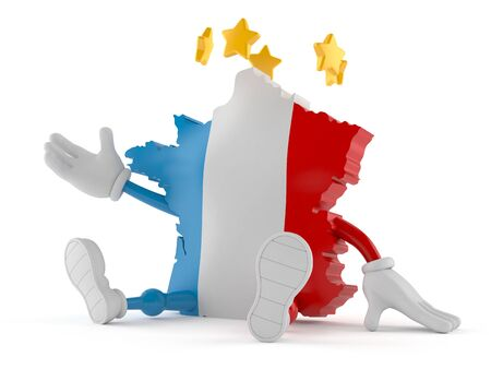 France character with stars around head isolated on white background. 3d illustration