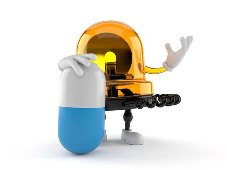 Emergency siren character with pill isolated on white background. 3d illustration