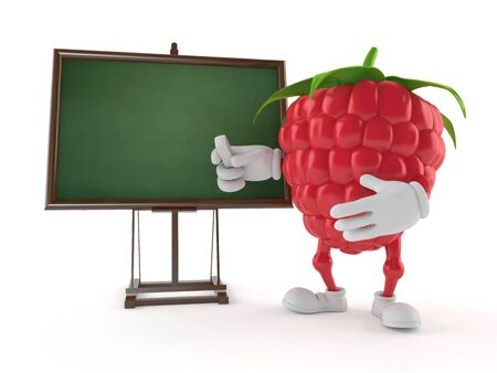 Raspberry character with blank blackboard isolated on white background. 3d illustration Stock Illustration - 124543517
