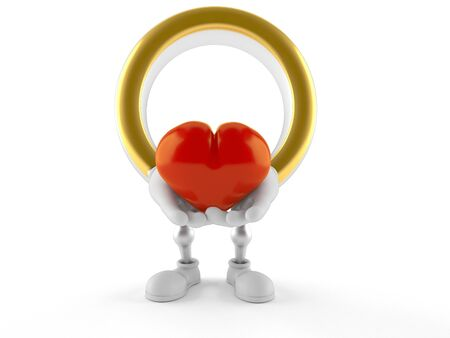 Wedding ring character holding heart isolated on white background. 3d illustration Banco de Imagens