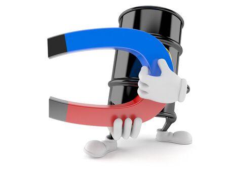 Oil barrel character holding horseshoe magnet isolated on white background. 3d illustration
