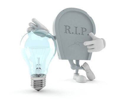 Grave character with light bulb isolated on white background. 3d illustration