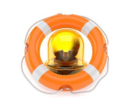Emergency siren inside life buoy isolated on white background. 3d illustration