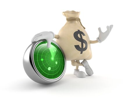 Dollar money bag  character with radar isolated on white background. 3d illustration