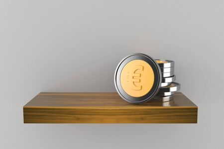 Euro coins on wooden shelf isolated on grey background. 3d illustration