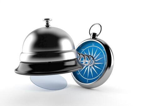 Hotel bell with compass isolated on white background. 3d illustration
