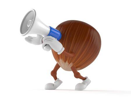 Hazelnut character speaking through a megaphone isolated on white background. 3d illustration Stock Photo