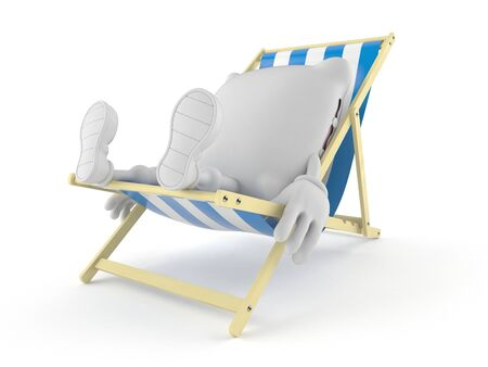 Pillow character lying on deck chair isolated on white background. 3d illustration Stock Photo