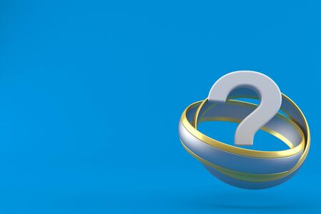 Question mark inside wedding rings isolated on blue background. 3d illustration
