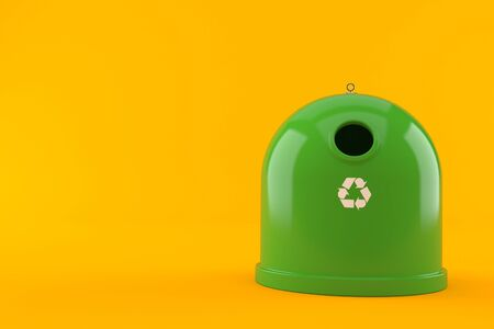 Recycling bin isolated on orange background. 3d illustration