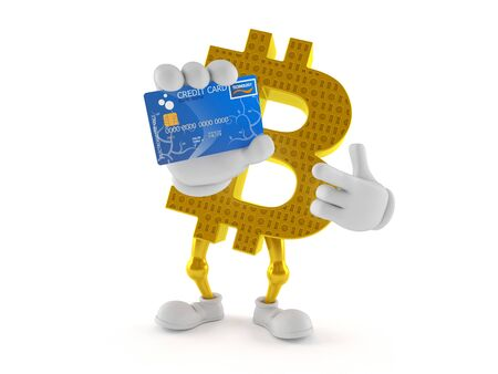 Bitcoin character holding credit card isolated on white background. 3d illustration Imagens