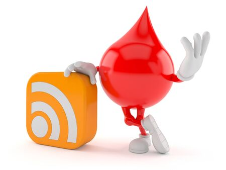 Blood character with RSS icon isolated on white background. 3d illustration
