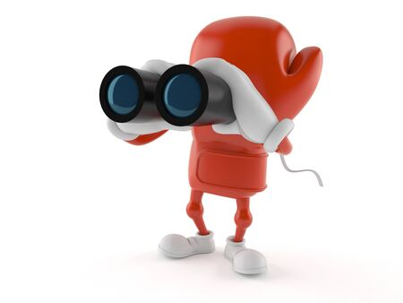 Boxing glove character looking through binoculars isolated on white background. 3d illustration