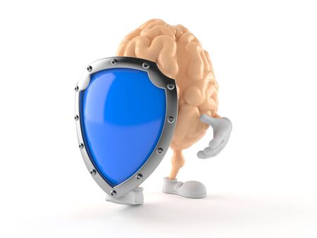 Brain character with protective shield isolated on white background. 3d illustration