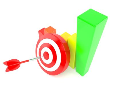 Bulls eye with chart isolated on white background. 3d illustration