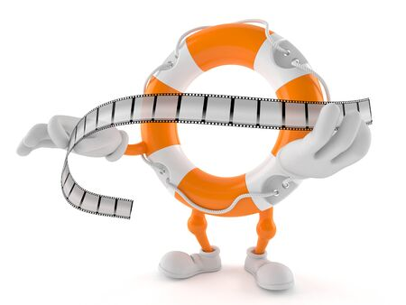 Life buoy character holding film strip isolated on white background. 3d illustration