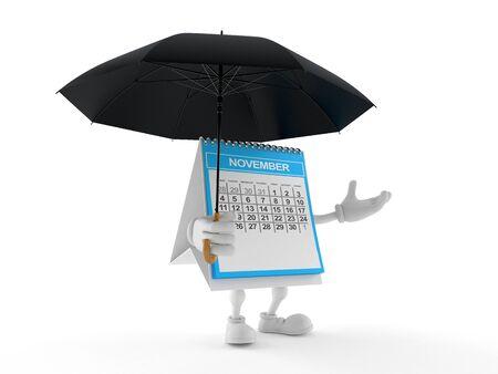 Calendar character holding umbrella isolated on white background. 3d illustration