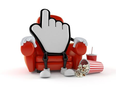 Cursor character sitting in the cinema isolated on white background. 3d illustration Imagens