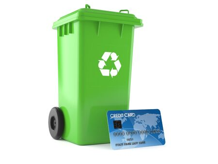 Dustbin with credit card isolated on white background. 3d illustration Stock Photo