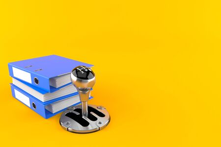 Gearshift with ring binders isolated on orange background. 3d illustration Imagens