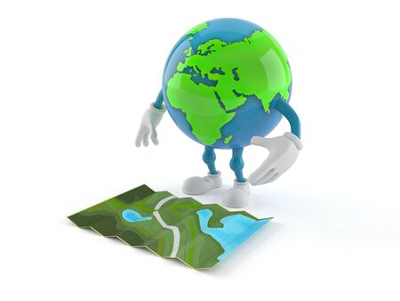 World globe character looking at map isolated on white background. 3d illustration