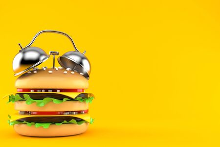 Cheeseburger with alarm clock isolated on orange background. 3d illustration