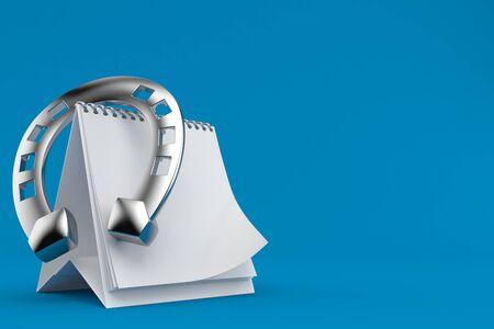 Horseshoe with blank calendar isolated on blue background. 3d illustration