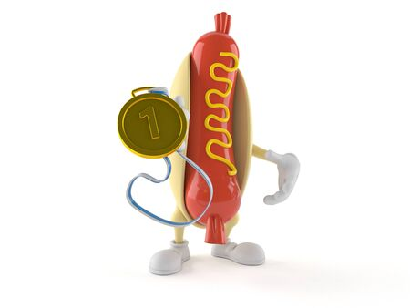 Hot dog character with golden medal isolated on white background. 3d illustration Imagens