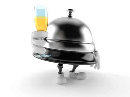 Hotel bell character toasting isolated on white background. 3d illustration 스톡 콘텐츠 - 124551516